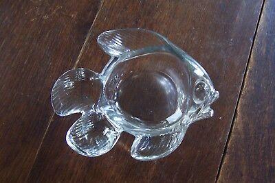 "Mid-Century Modern CoFrac Art Verrier France 6"" Crystal Bowl ~ Fish Shaped"