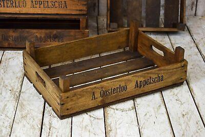 1 x Vintage Rustic Industrial Wooden Storage Apple Box Crate Display