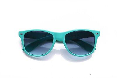 Teal Horn Rimmed Sunglasses Vintage Neon Frame Several Colors - Teal Sunglasses