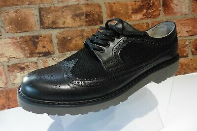 HOUSE OF HOUNDS BLACK LEATHER / TEXTILE LACE UP BROGUES SIZE 8 / 42 B43
