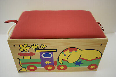 KIDS WOODEN TOY BOX STORAGE BENCH ORGANIZER TOY CHEST BIN LID DOUBLES AS A SEAT