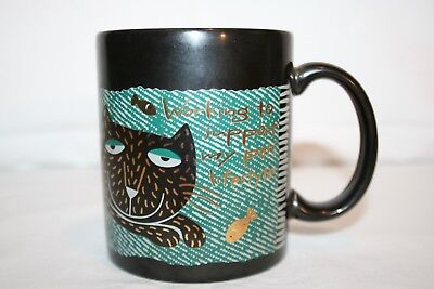 Hallmark Working to Support My Pet's Lifestyle Cat Black Green Gold Mug Cup