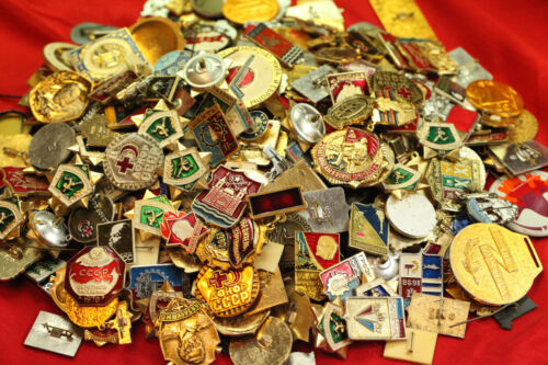 10 pcs USSR SOVIET ERA ENAMEL PINS, BADGES COLD WAR COMMUNISM CCCP