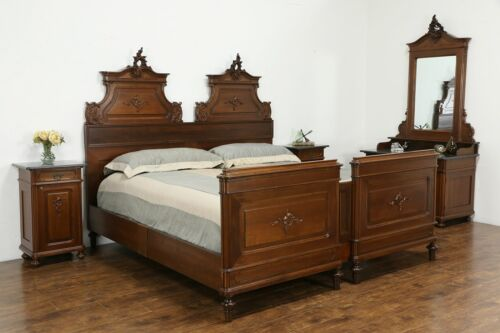 Italian Antique Carved Walnut 4 Pc Bedroom Set King Size Bed, Marble Tops #35625