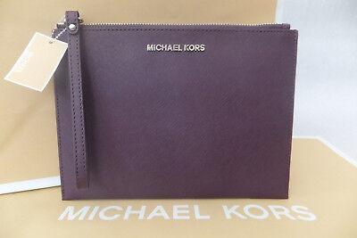 Michael Kors Ladies Jet Set Travel Leather Clutch Evening Wristlet Bag BNWT