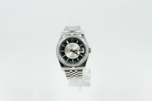 Rolex Datejust 116244 Stainless Steel Jubilee Band Tuxedo Dial & A Diamond Bezel