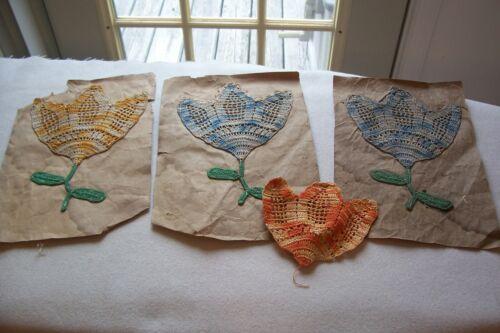 Vtg Antique Hand Crocheted Flower Appliques Lot of 3 +