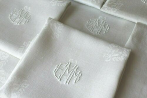 Gorgeous! Vintage Antique Damask Linen Triple Monogram EMM Lapkins Napkins Set 6