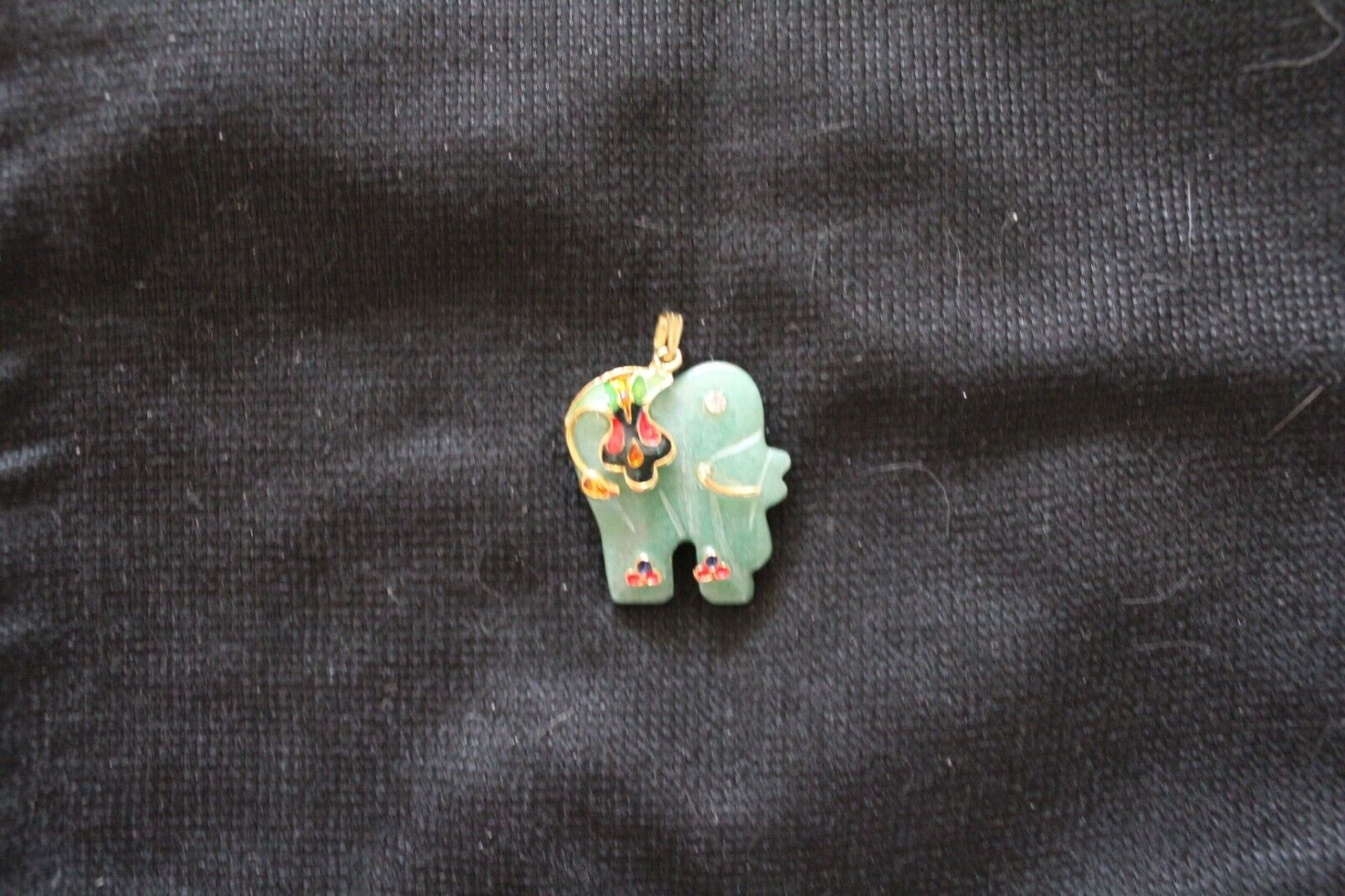 Elephant Pendant With Painted Enamel Accents - $25.00