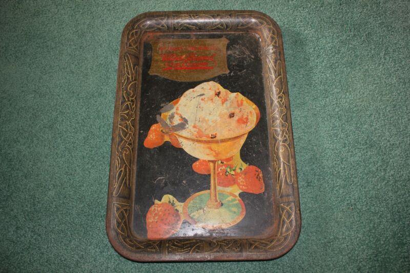RARE tin lithograph ICE CREAM TRAY circa 1900 Velvet Brand Detroit Creamery