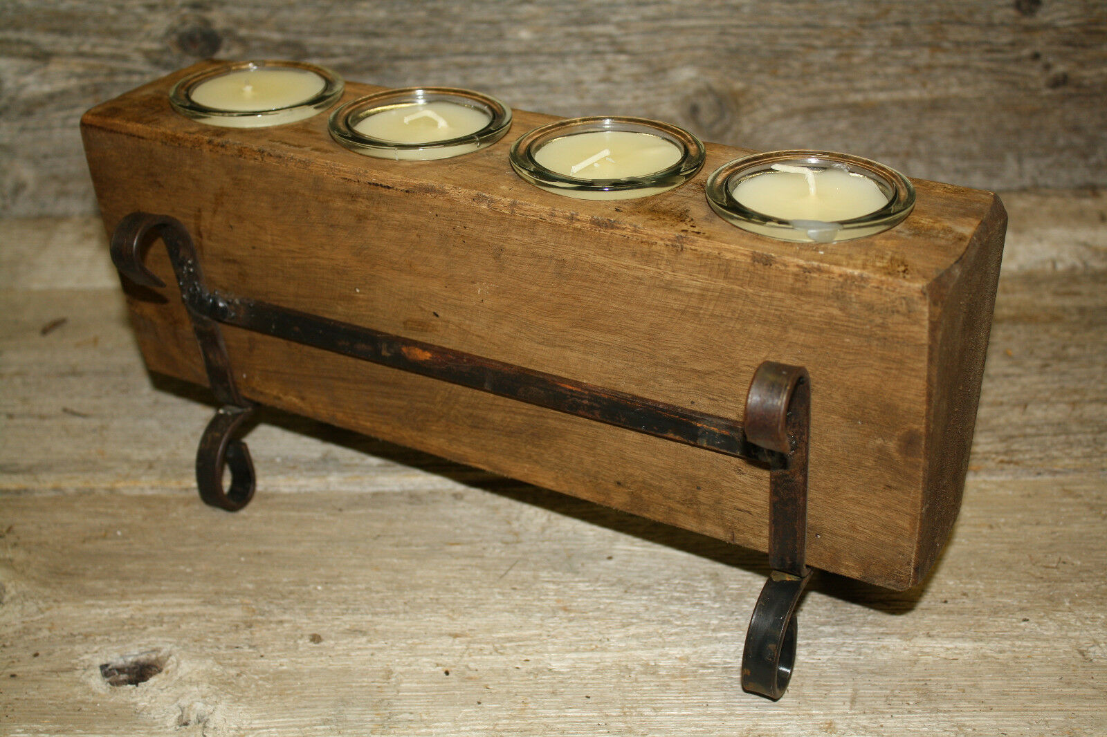 4 Hole Wooden Sugar Mold Wood Candle Holder Primitive Clear Glass Votives