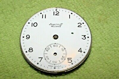 #PW70,Ingersoll Watch Co.42mm Movement & Porcelain Dial For Pocket Watch 1894