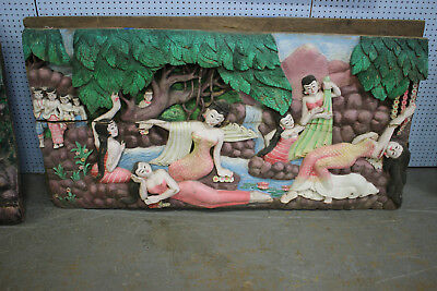 HUGE Antique Tibetan Asian Hindu Buddhist Wood Carving-#6-Ceremonial Gods-125LBS