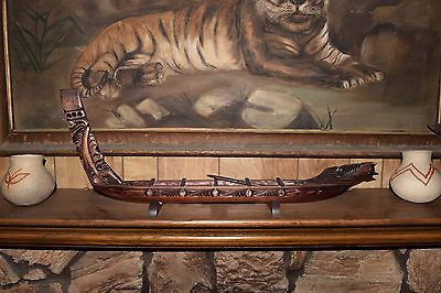 LARGE 30 in. vintage maori waka canoe w/paddles and original mat & stand