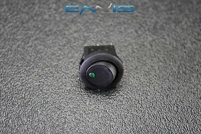 Round Rocker Switch 34 Mount Hole 16 Amp 12v 3 Pin Green Led Toggle Ibrrsg