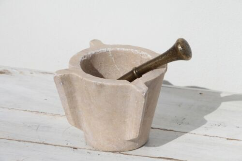 Antique Medical Marble Mortar and Bronze Pestle from Portugal, 19th Century