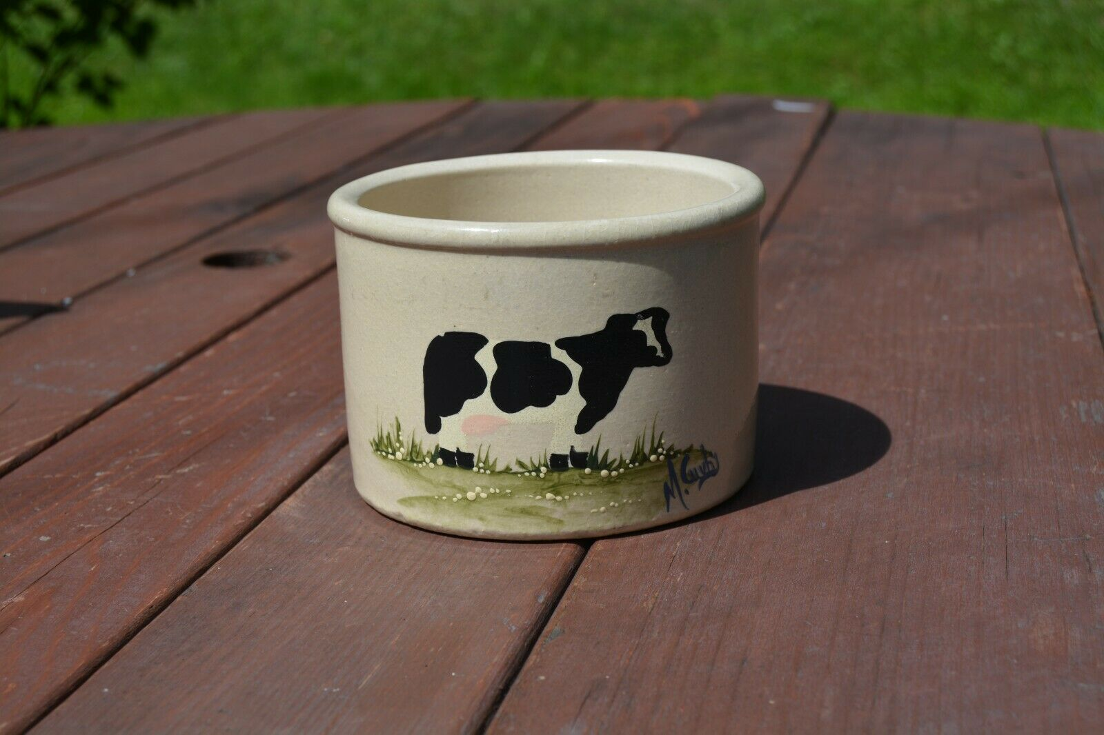 Vintage Ransbottom Low Jar W/ Hand Painted Cow By M. Cuvhy  - $29.99
