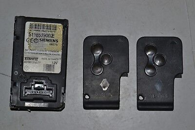#005 RENAULT MEGANE II IGNITION KEY CARD READER SLOT WITH CARD PAIR 8200125077