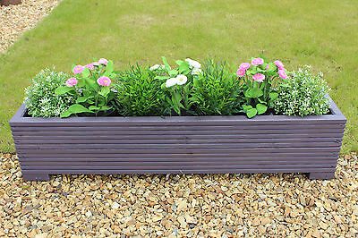 Purple 100x22x23 (cm) Wooden Garden Trough Planter or Plant Pots