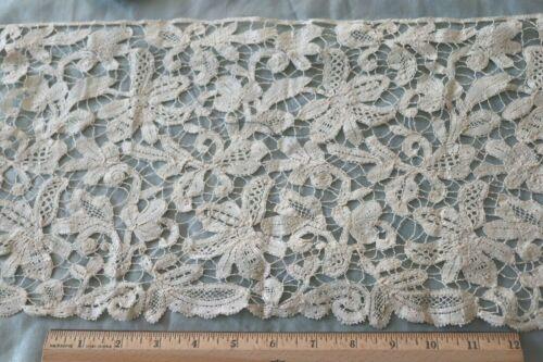"Antique Handmade 19thC Linen Floral Lace~L-9"" X W-18""~Collector"