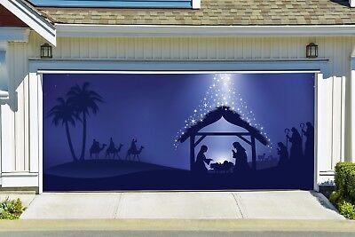 Nativity Scene Garage Door Banner, Holy Night Outdoor Christmas Decor GD219 (Garage Door Scenes)