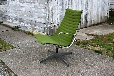 Eames HERMAN MILLER Aluminum Group Lounge Chair Mid-Century Modern - Green Aluminum Modern Lounge Chairs