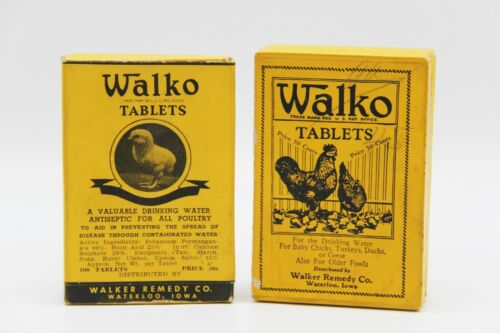 Vintage Walko Tablets Tablet Empty Boxes Poultry Chicken Chick Walker Remedy Co