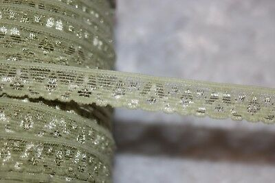 """6 yards sage moss light green sewing headband lingerie stretch lace 1/2"""" wide"""