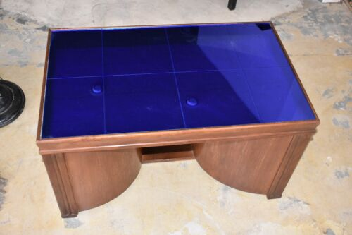 Mid century Art Deco Blue Glass Coffee Table with Swing Out Bar