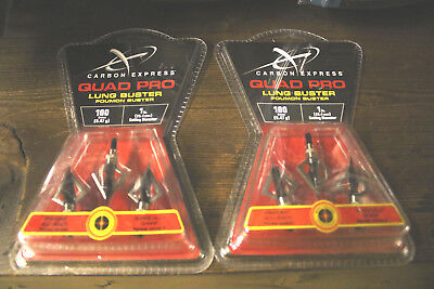 2 Packs New Carbon Express Quad Pro Lung Buster Broadhead Fixed Blade 6 Heads