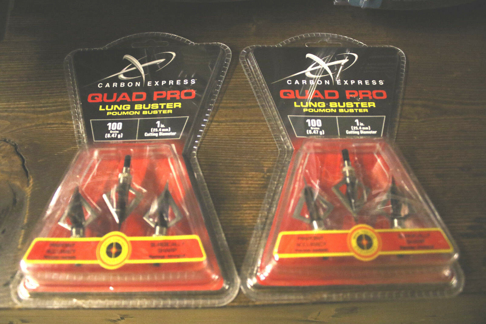 New CARBON EXPRESS Quad Pro Lung Buster 3 Pack Broadheads 10