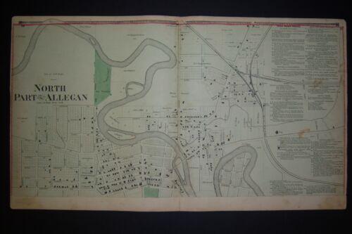1873 orig. Plat Atlas pg NORTH PART OF ALLEGAN, MI buildings, business directory