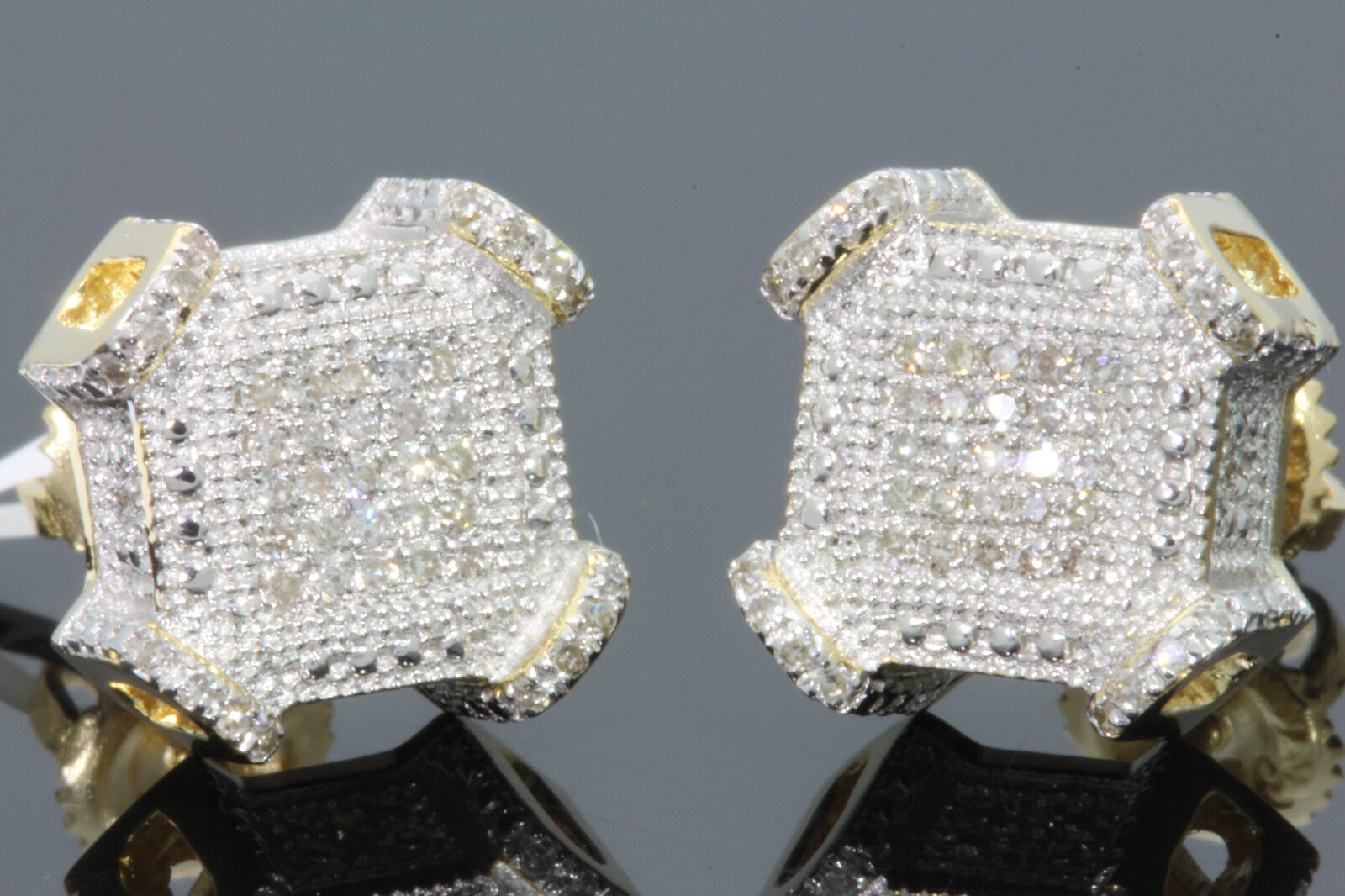 .29 CT STERLING SILVER GOLD FINISH MEN WOMEN 10 mm REAL DIAMONDS EARRINGS STUDS 1
