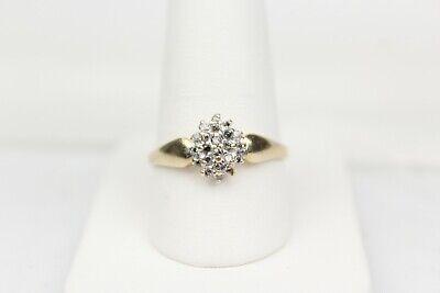 10k Yellow Gold Genuine Diamond Cluster Ring Sz 8.75 (missing stone)