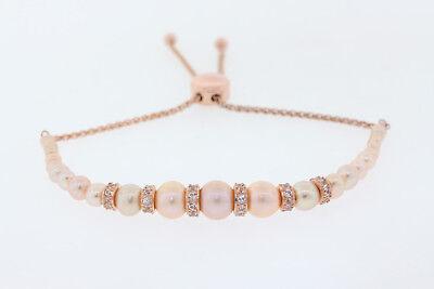 18k Rose G.P. Sterling Pink Pearl & White Sapphire Lariat Bolo Slide Bracelet
