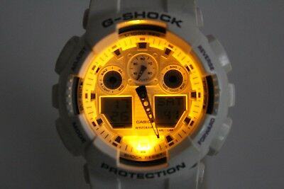 G-shock Stopwatch - CASIO GA-100A-7AJF white purple G-Shock resistant Watch 1/1000th stopwatch
