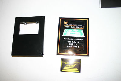 ICT bill validator mounting plate and currency decals (w/ mounting harware nuts
