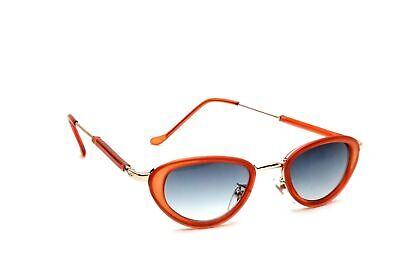 Vintage Fashion Oval Orange Metal Frame Blue Gradient Lenses Women (Orange Frame Sunglasses)