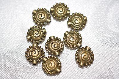 Base Metal Beads - Antique Brass Tone - 10mm Spiral pattern (10 Mm Base Metal)