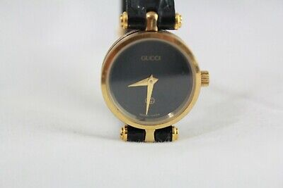 Vintage GUCCI 4.86 Gold Plated Black Women's Wristwatch