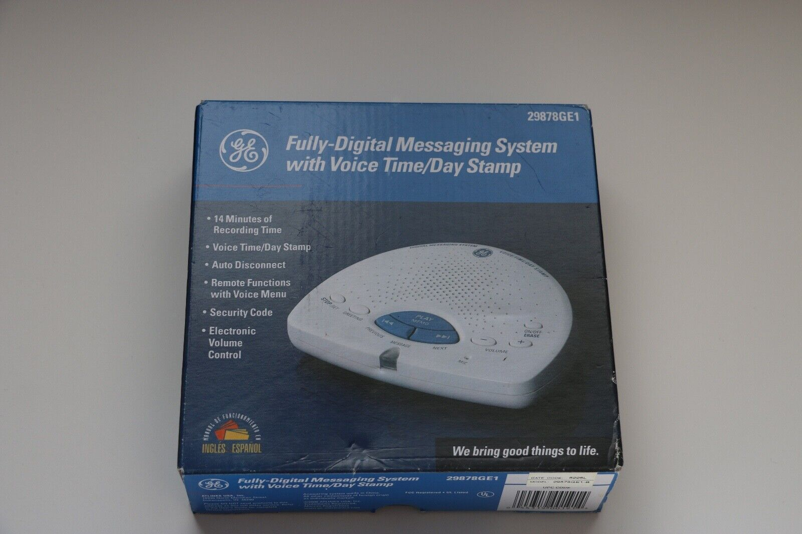 GE Digital Answering Machine with Voice Time / Day Stamp 298
