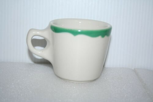 Vintage Buffalo China Crest Green Coffee Cup Mug Restaurant Diner Ware