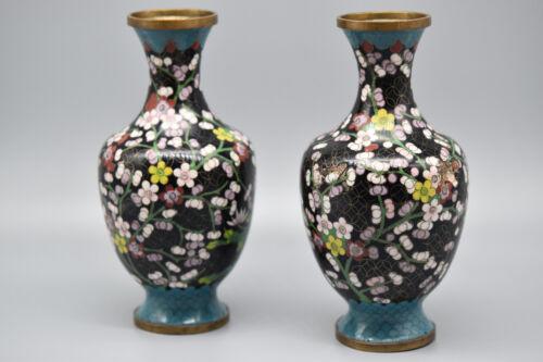 "Pair of Hand Enameled Cloisonne Vases, 8"" T, 5 "" W,  Stock #169"