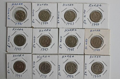 12 Coin Lot 1981-1994 South Korea 50 Won Copper Nickel Zinc Coins Better Grade
