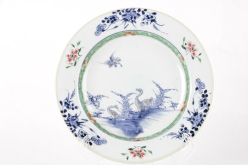 Antique Chinese plate, 18th century, famille rose Qing  four ducks