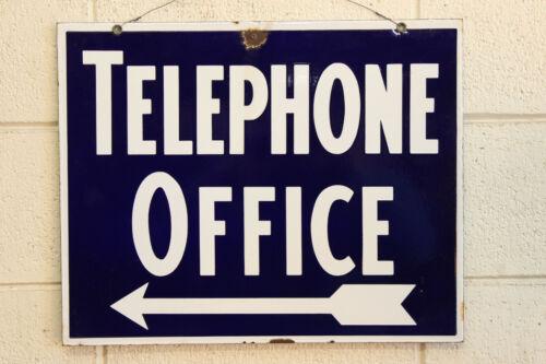 Double Sided Antique Porcelain Enamel Telephone Office Arrow Sign Factory 1930s