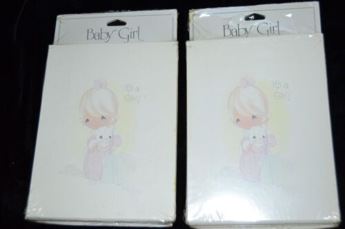 2 Sealed 8 ea. Vintage Precious Moments Baby Girl Birth Announcements