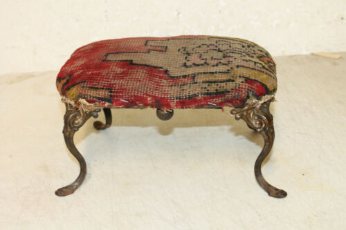 Vintage Antique Primitive Cast Iron Legs Ornate Victorian Foot Stool Wood Bottom