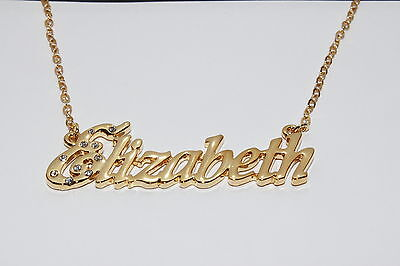 Name Necklace LIBBY 18ct White Gold Plated Crystals Accessories Christmas