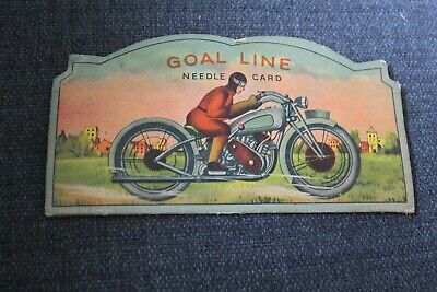 RARE INDIAN MOTORCYCLE GOAL LINE NEEDLE CARD Vintage